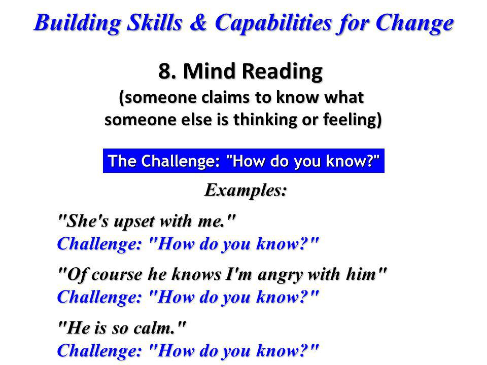 Building Skills & Capabilities for Change Examples: Examples: