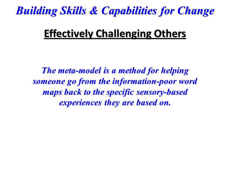 Building Skills & Capabilities for Change The meta-model is a method for helping someone go from the information-poor word maps back to the specific s