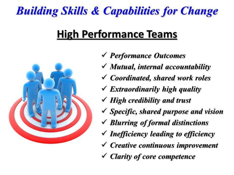 Building Skills & Capabilities for Change High Performance Teams Performance Outcomes Performance Outcomes Mutual, internal accountability Mutual, int