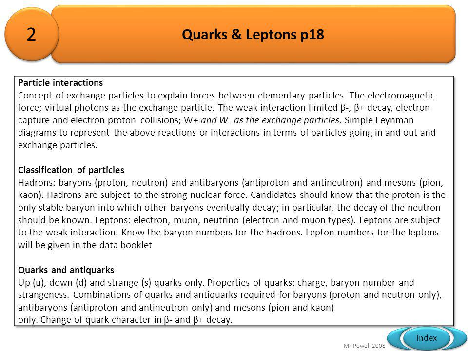Mr Powell 2008 Index Quarks & Leptons p18 2 2