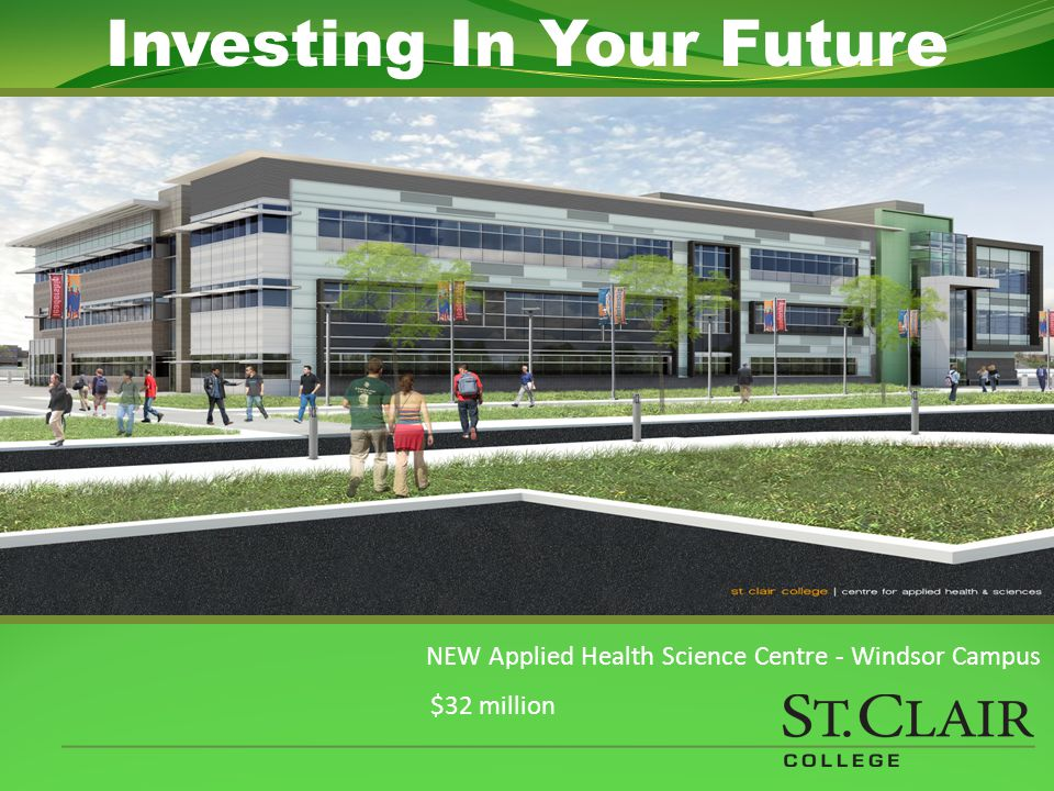 NEW Applied Health Science Centre - Windsor Campus $32 million Investing In Your Future