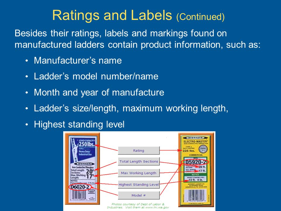 Besides their ratings, labels and markings found on manufactured ladders contain product information, such as: Manufacturers name Ladders model number