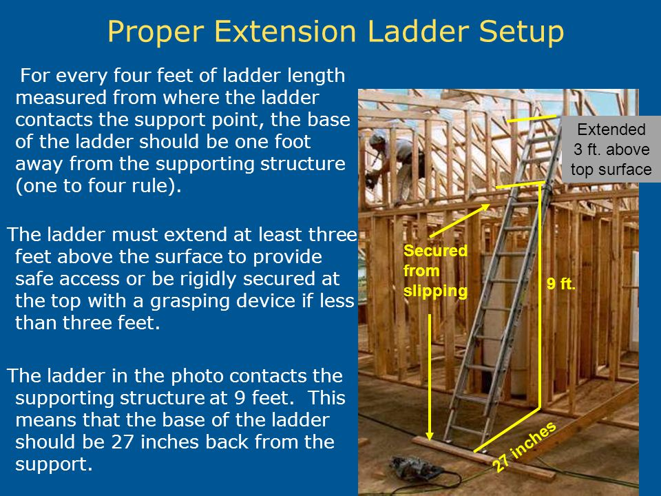 Proper Extension Ladder Setup For every four feet of ladder length measured from where the ladder contacts the support point, the base of the ladder s