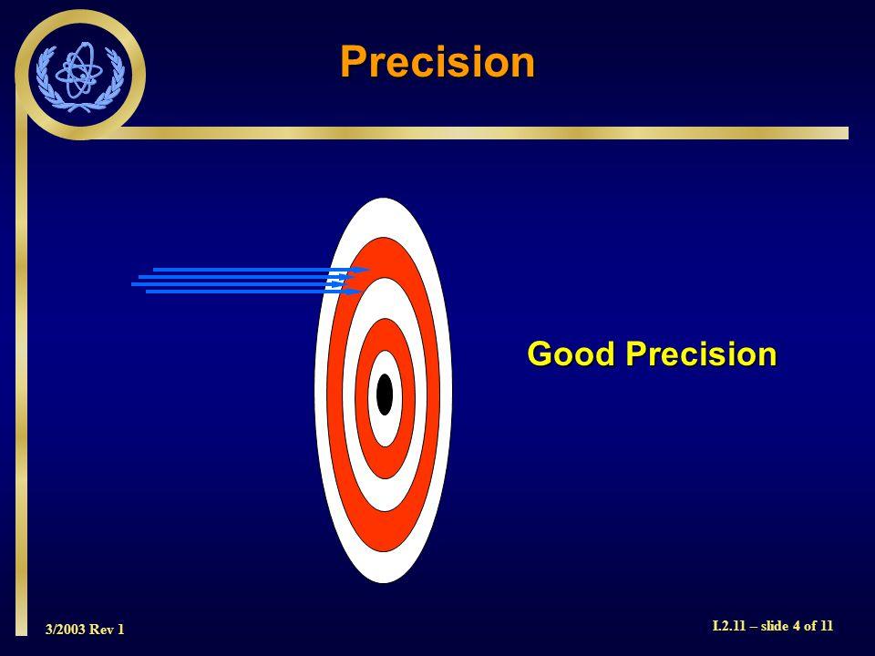 3/2003 Rev 1 I.2.11 – slide 4 of 11 Precision Good Precision