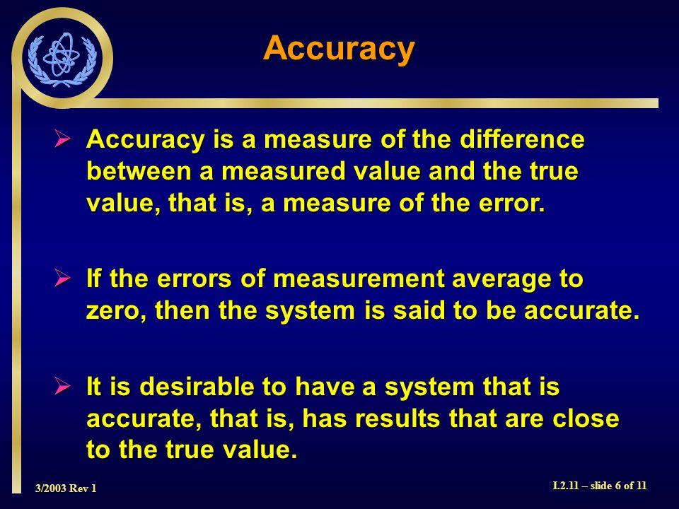 3/2003 Rev 1 I.2.11 – slide 7 of 11 Accuracy Good Accuracy