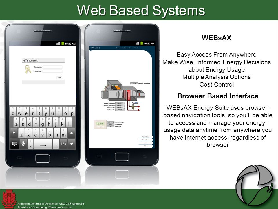 Browser Based Interface WEBsAX Energy Suite uses browser- based navigation tools, so youll be able to access and manage your energy- usage data anytime from anywhere you have Internet access, regardless of browser WEBsAX Easy Access From Anywhere Make Wise, Informed Energy Decisions about Energy Usage Multiple Analysis Options Cost Control Web Based Systems