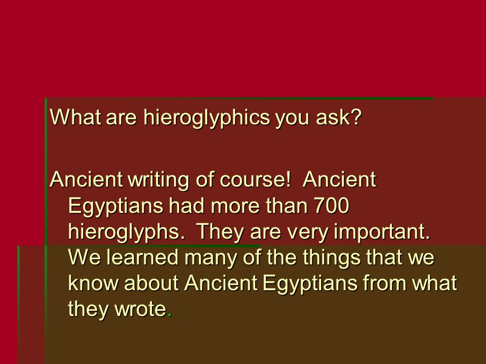What are hieroglyphics you ask? Ancient writing of course! Ancient Egyptians had more than 700 hieroglyphs. They are very important. We learned many o