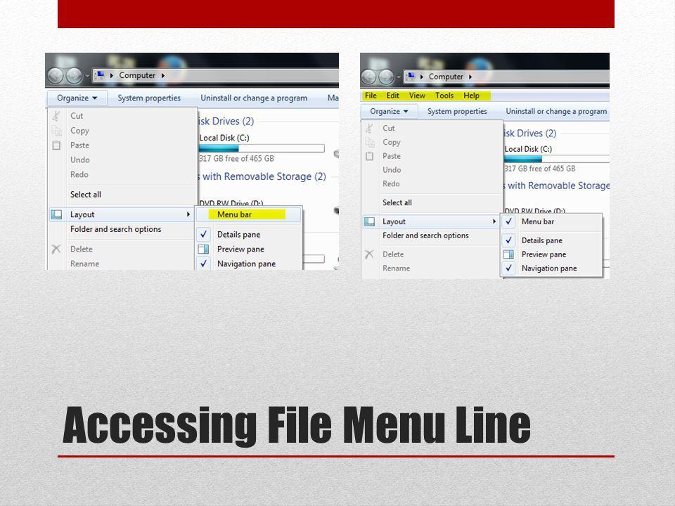 Accessing File Menu Line