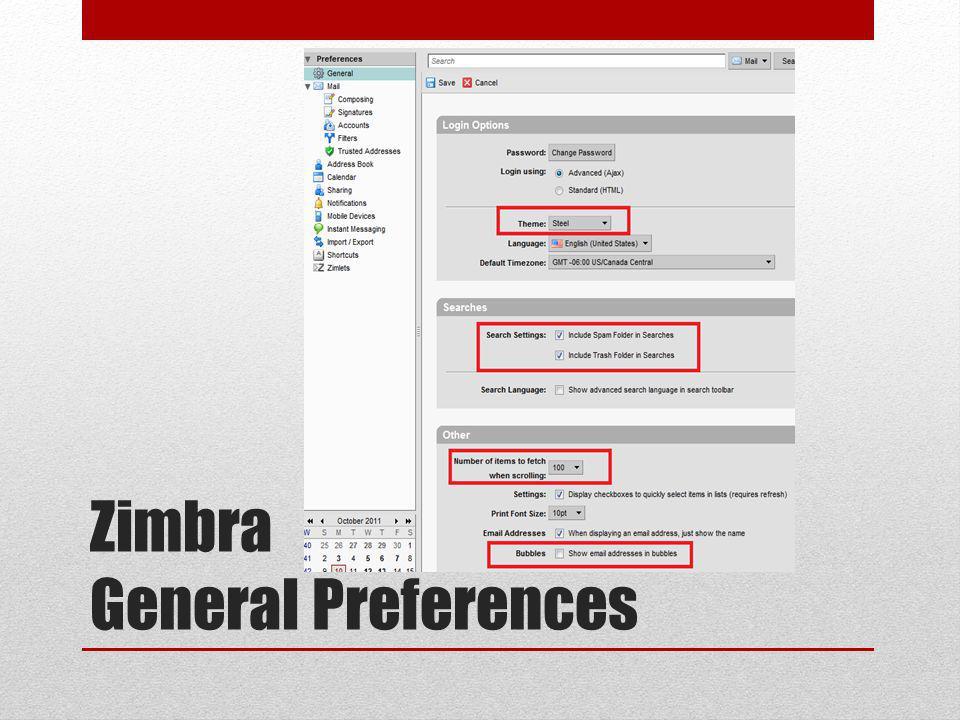 Zimbra General Preferences