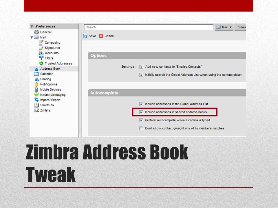 Zimbra Address Book Tweak