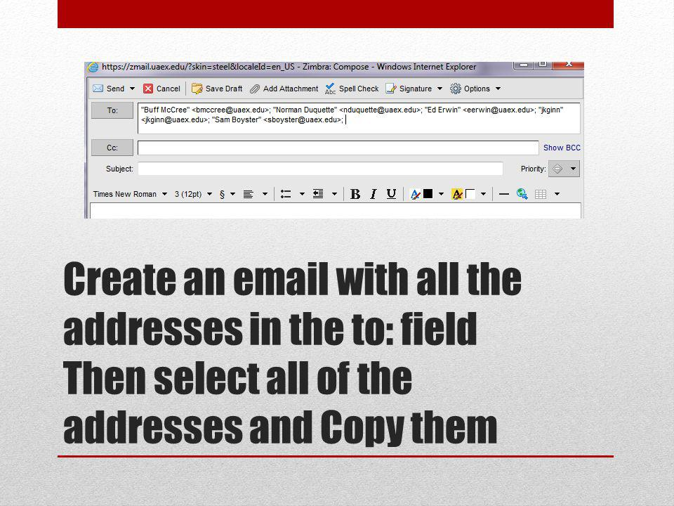 Create an email with all the addresses in the to: field Then select all of the addresses and Copy them