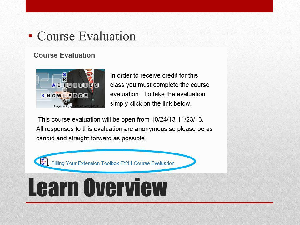 Learn Overview Course Evaluation