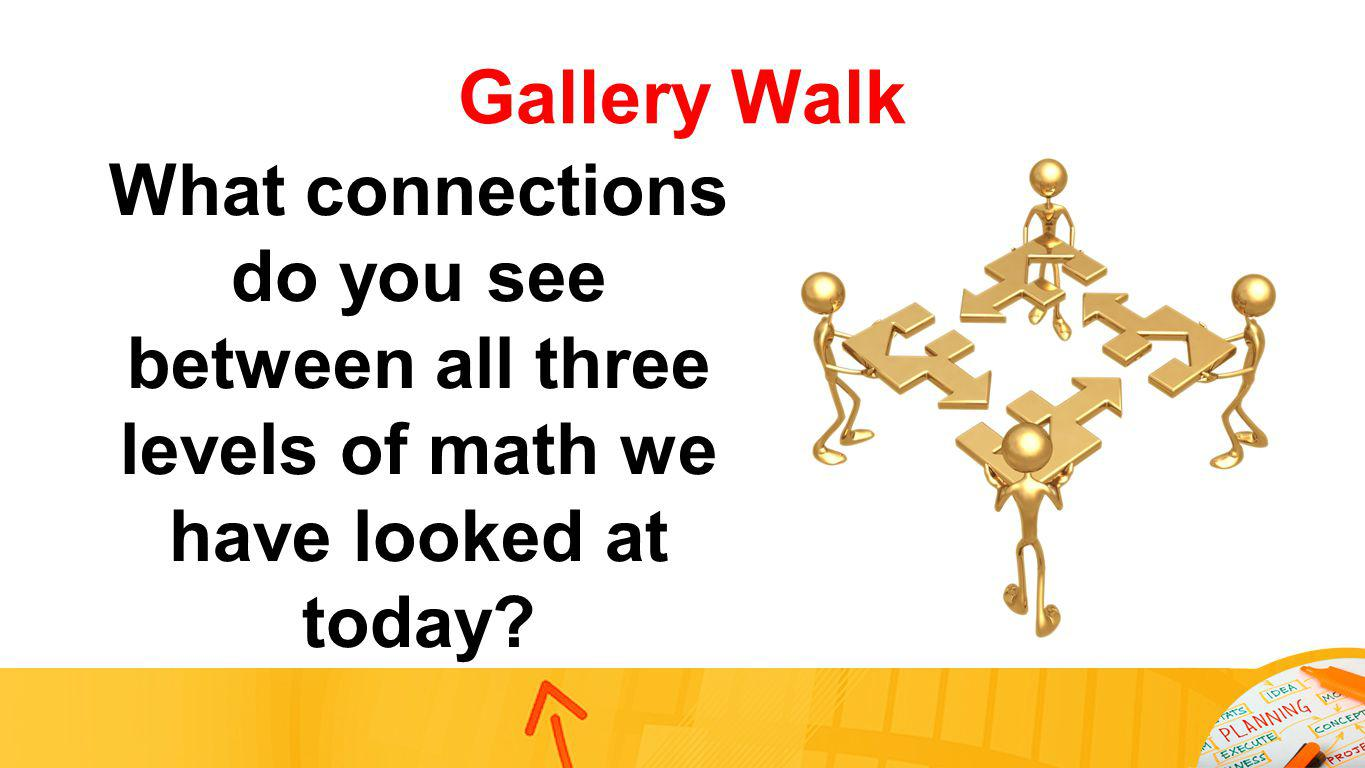 Gallery Walk What connections do you see between all three levels of math we have looked at today?