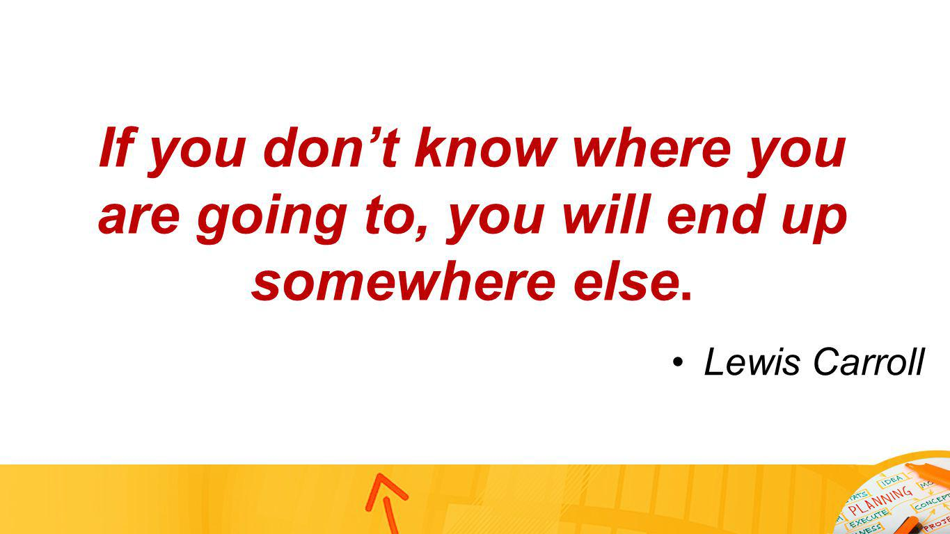 If you dont know where you are going to, you will end up somewhere else. Lewis Carroll