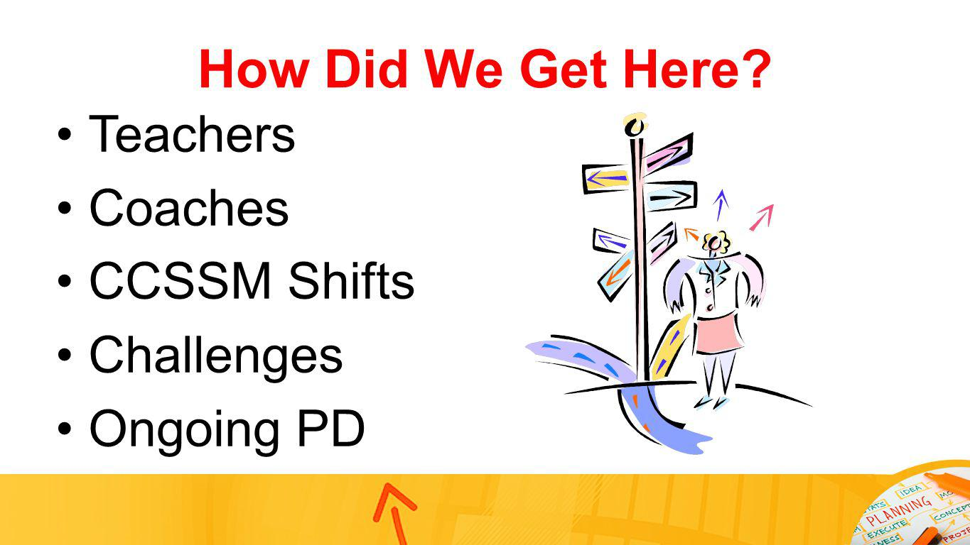 How Did We Get Here? Teachers Coaches CCSSM Shifts Challenges Ongoing PD