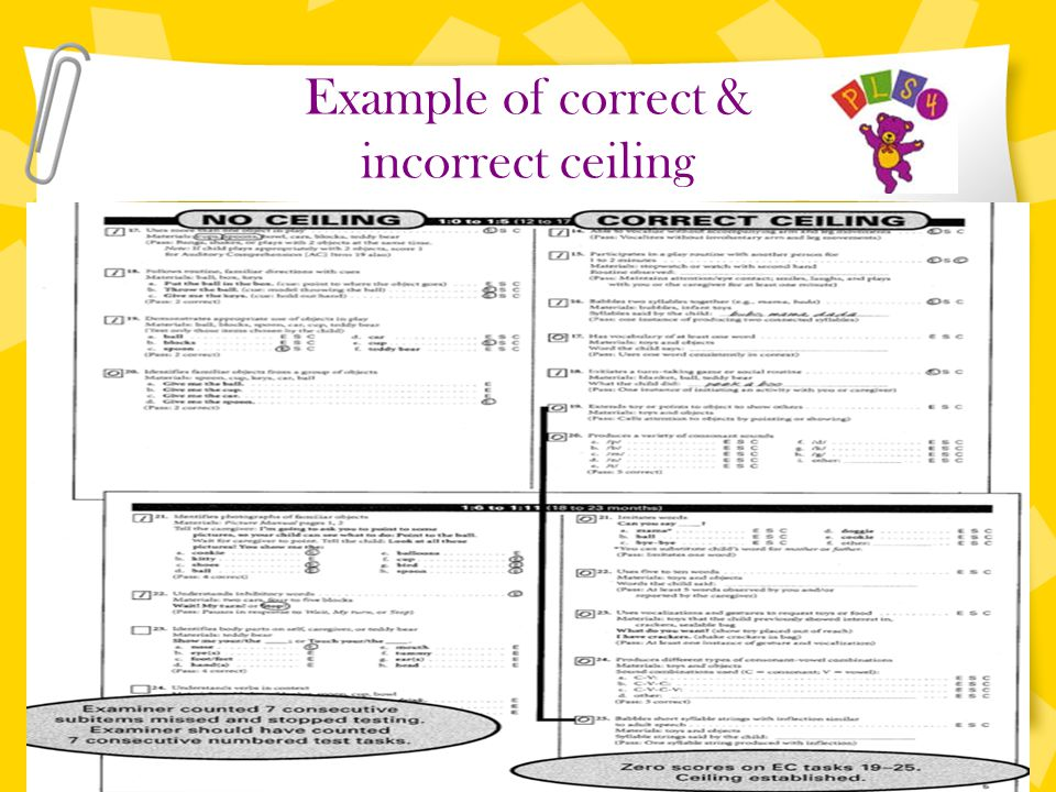 Example of correct & incorrect ceiling