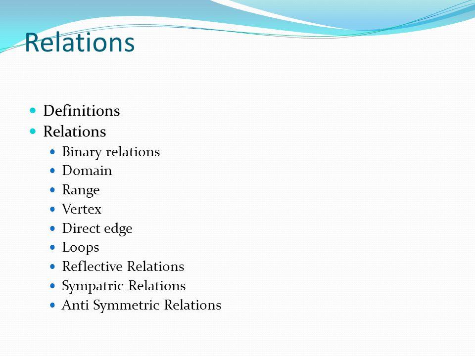 Metrics of Relations Reflective Relations Symmetric Relations Matrix multiplications