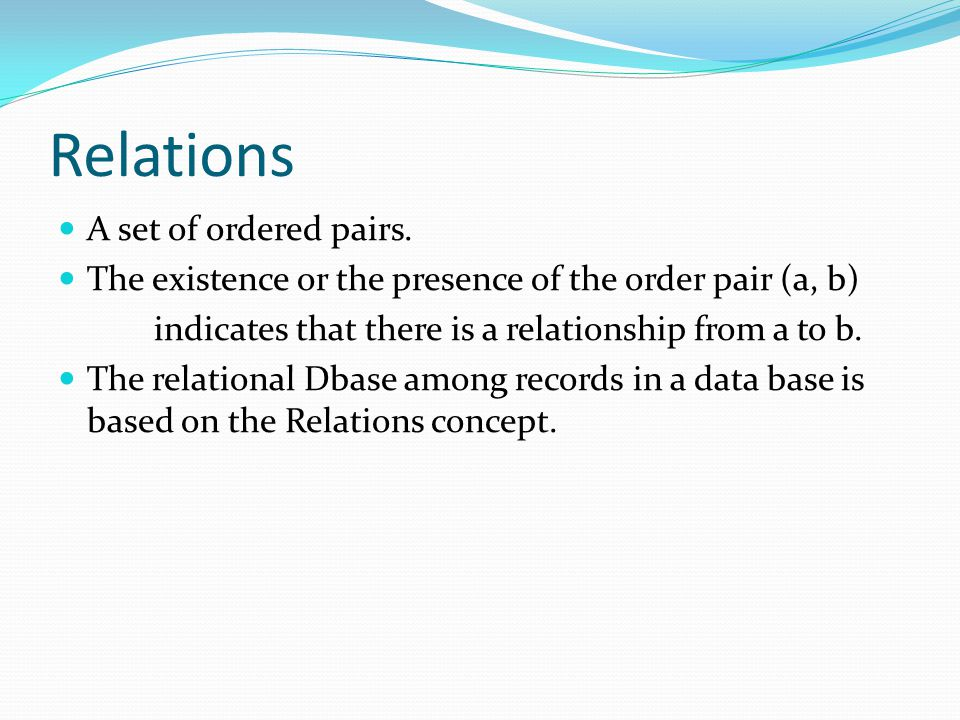 Relations A set of ordered pairs.