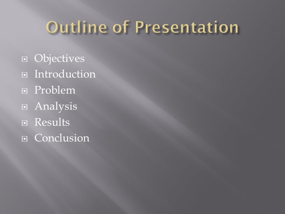 Objectives Introduction Problem Analysis Results Conclusion