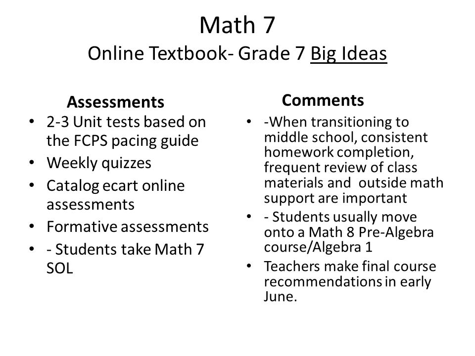 Math 7 Online Textbook- Grade 7 Big Ideas Assessments 2-3 Unit tests based on the FCPS pacing guide Weekly quizzes Catalog ecart online assessments Formative assessments - Students take Math 7 SOL Comments -When transitioning to middle school, consistent homework completion, frequent review of class materials and outside math support are important - Students usually move onto a Math 8 Pre-Algebra course/Algebra 1 Teachers make final course recommendations in early June.