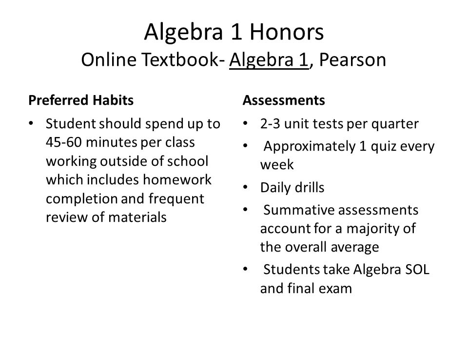 Algebra 1 Honors Online Textbook- Algebra 1, Pearson Preferred Habits Student should spend up to 45-60 minutes per class working outside of school which includes homework completion and frequent review of materials Assessments 2-3 unit tests per quarter Approximately 1 quiz every week Daily drills Summative assessments account for a majority of the overall average Students take Algebra SOL and final exam