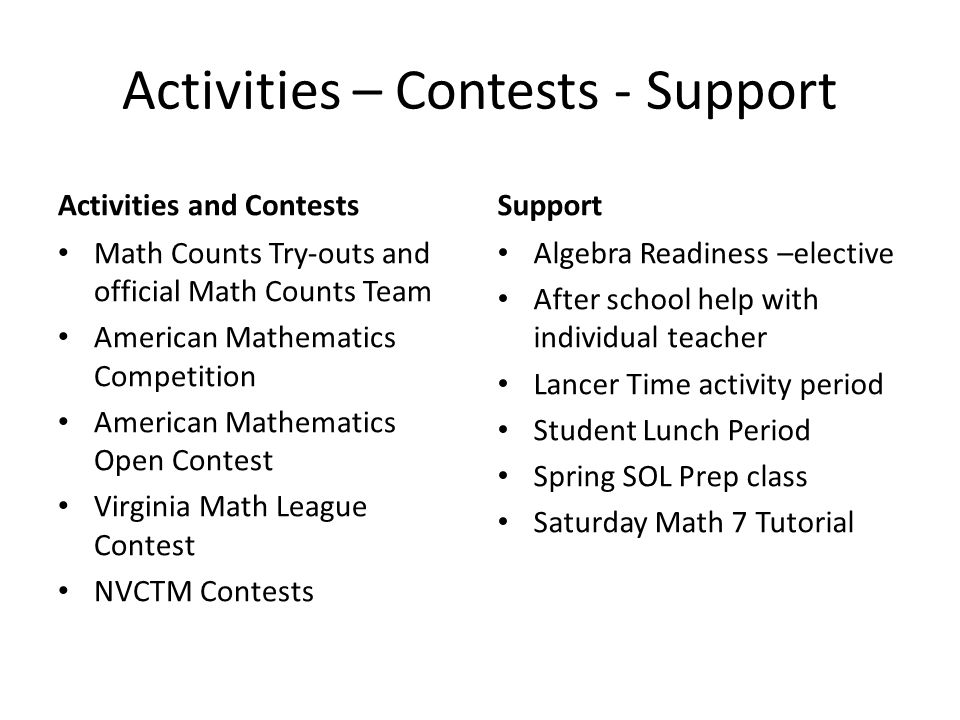 Activities – Contests - Support Activities and Contests Math Counts Try-outs and official Math Counts Team American Mathematics Competition American Mathematics Open Contest Virginia Math League Contest NVCTM Contests Support Algebra Readiness –elective After school help with individual teacher Lancer Time activity period Student Lunch Period Spring SOL Prep class Saturday Math 7 Tutorial