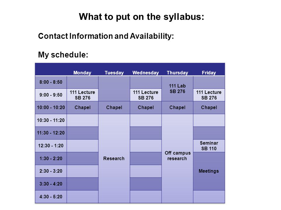 What to put on the syllabus: Contact Information and Availability: My schedule: