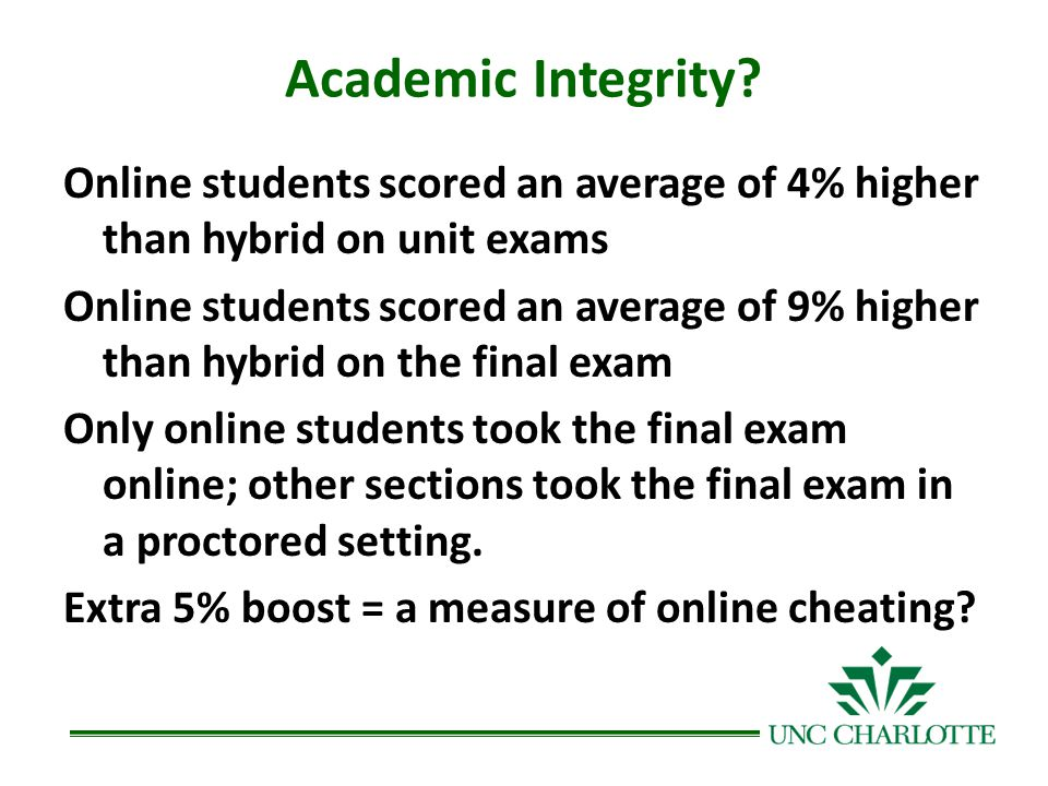 Academic Integrity? Online students scored an average of 4% higher than hybrid on unit exams Online students scored an average of 9% higher than hybri