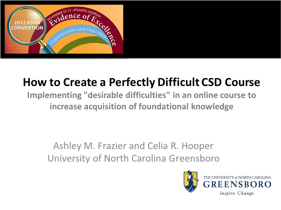 How to Create a Perfectly Difficult CSD Course Implementing desirable difficulties in an online course to increase acquisition of foundational knowledge Ashley M.