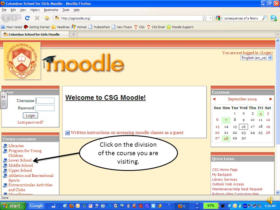 Click on Moodle