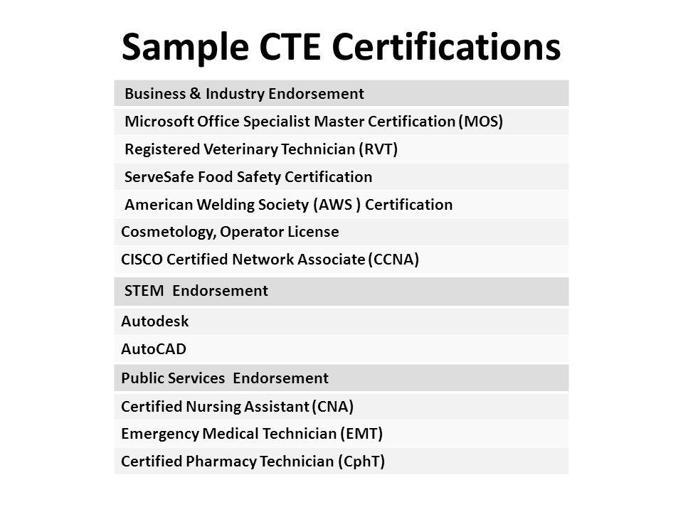 Sample CTE Certifications Business & Industry Endorsement Microsoft Office Specialist Master Certification (MOS) Registered Veterinary Technician (RVT