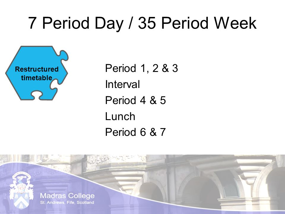 7 Period Day / 35 Period Week Period 1, 2 & 3 Interval Period 4 & 5 Lunch Period 6 & 7 Restructured timetable