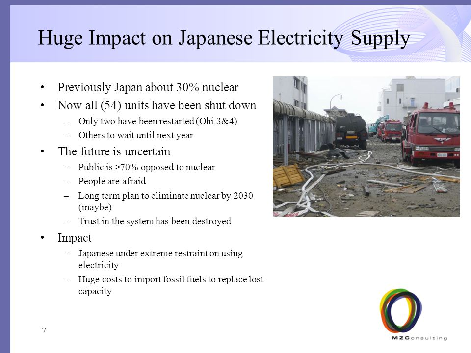 Huge Impact on Japanese Electricity Supply Previously Japan about 30% nuclear Now all (54) units have been shut down –Only two have been restarted (Ohi 3&4) –Others to wait until next year The future is uncertain –Public is >70% opposed to nuclear –People are afraid –Long term plan to eliminate nuclear by 2030 (maybe) –Trust in the system has been destroyed Impact –Japanese under extreme restraint on using electricity –Huge costs to import fossil fuels to replace lost capacity 7