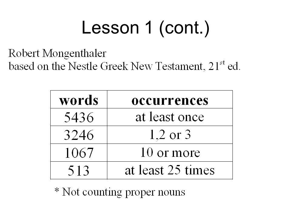 Lesson 1 (cont.)
