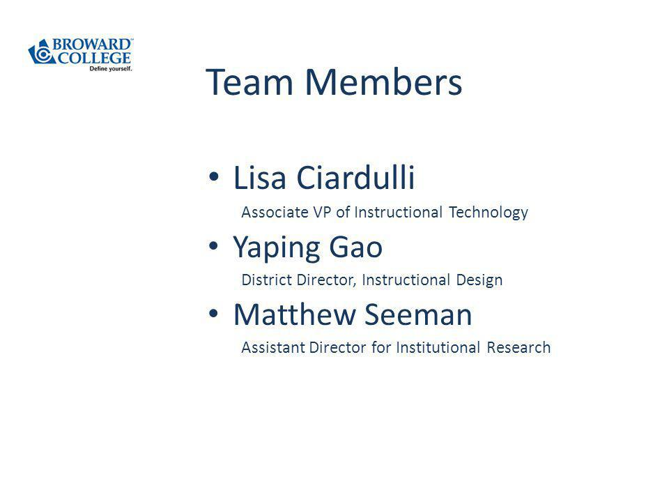 Team Members Lisa Ciardulli Associate VP of Instructional Technology Yaping Gao District Director, Instructional Design Matthew Seeman Assistant Director for Institutional Research