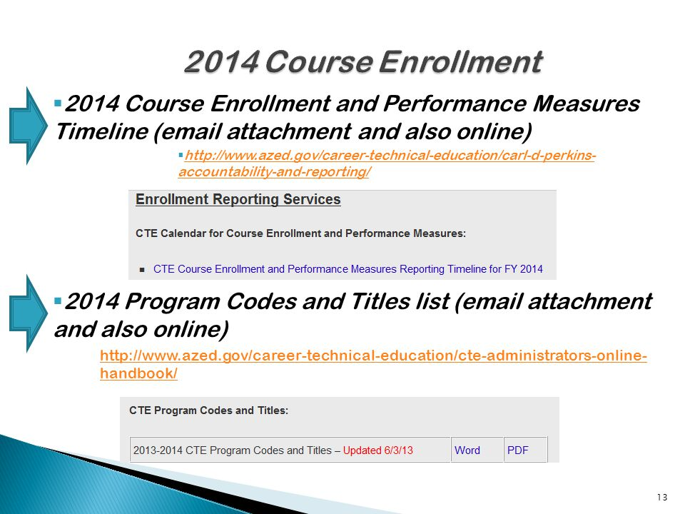 2014 Course Enrollment and Performance Measures Timeline (email attachment and also online) http://www.azed.gov/career-technical-education/carl-d-perkins- accountability-and-reporting/ http://www.azed.gov/career-technical-education/carl-d-perkins- accountability-and-reporting/ 2014 Program Codes and Titles list (email attachment and also online) http://www.azed.gov/career-technical-education/cte-administrators-online- handbook/ 13