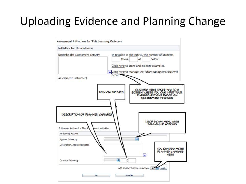 Uploading Evidence and Planning Change