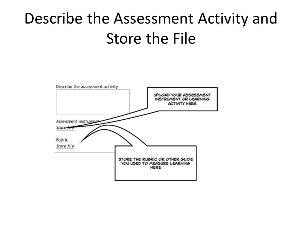 Describe the Assessment Activity and Store the File