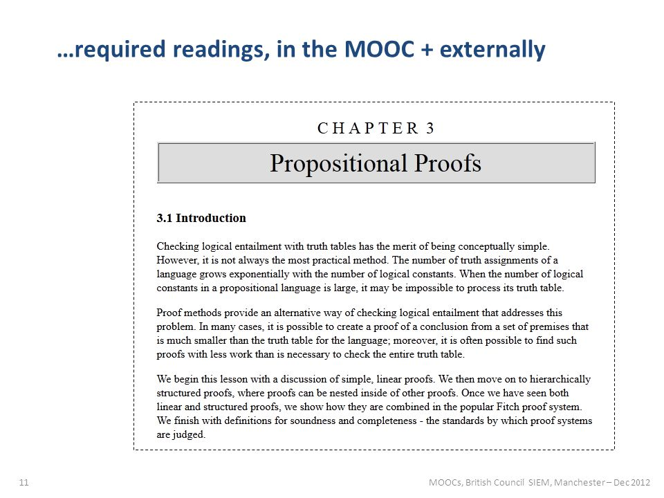 11 …required readings, in the MOOC + externally MOOCs, British Council SIEM, Manchester – Dec 2012