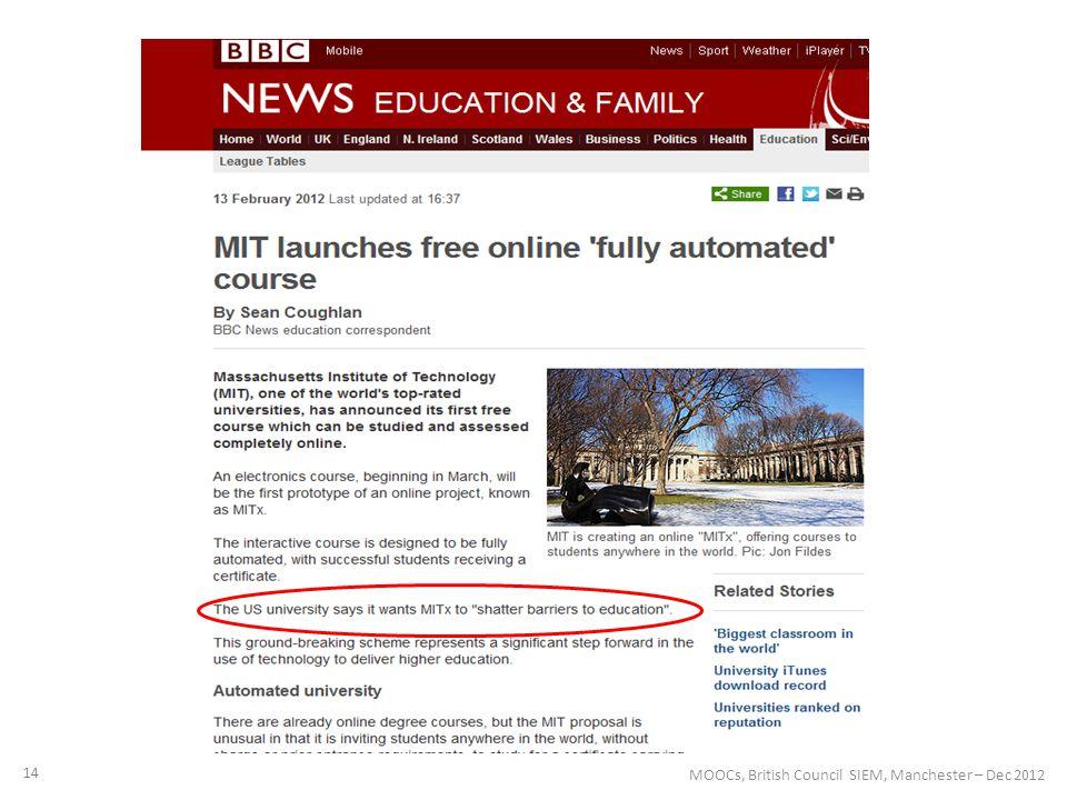 14 MOOCs, British Council SIEM, Manchester – Dec 2012