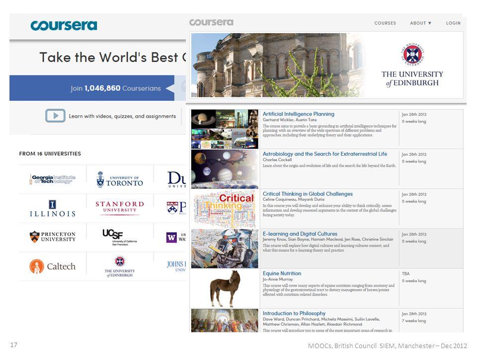17 MOOCs, British Council SIEM, Manchester – Dec 2012