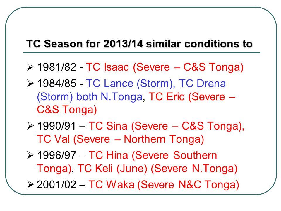 TC Season for 2013/14 similar conditions to 1981/82 - TC Isaac (Severe – C&S Tonga) 1984/85 - TC Lance (Storm), TC Drena (Storm) both N.Tonga, TC Eric (Severe – C&S Tonga) 1990/91 – TC Sina (Severe – C&S Tonga), TC Val (Severe – Northern Tonga) 1996/97 – TC Hina (Severe Southern Tonga), TC Keli (June) (Severe N.Tonga) 2001/02 – TC Waka (Severe N&C Tonga)