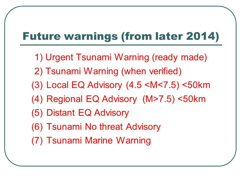 Future warnings (from later 2014) 1) Urgent Tsunami Warning (ready made) 2) Tsunami Warning (when verified) (3)Local EQ Advisory (4.5 <M<7.5) <50km (4)Regional EQ Advisory(M>7.5) <50km (5)Distant EQ Advisory (6)Tsunami No threat Advisory (7)Tsunami Marine Warning