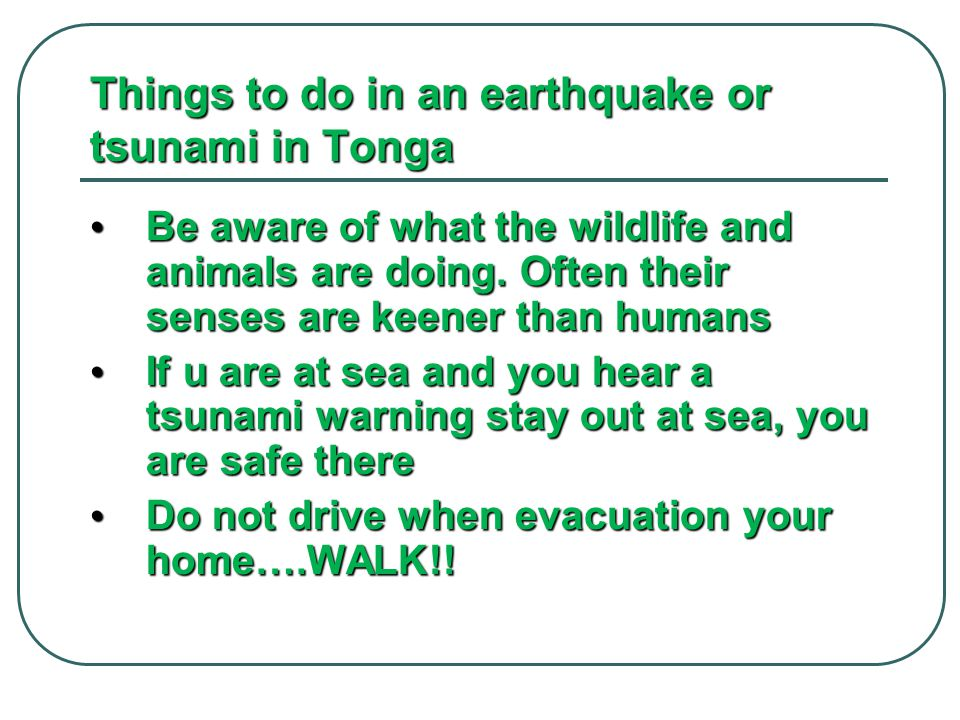 Things to do in an earthquake or tsunami in Tonga Be aware of what the wildlife and animals are doing. Often their senses are keener than humans Be aw