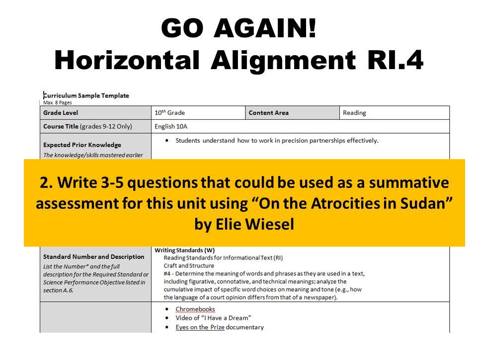 GO AGAIN. Horizontal Alignment RI.4 2.