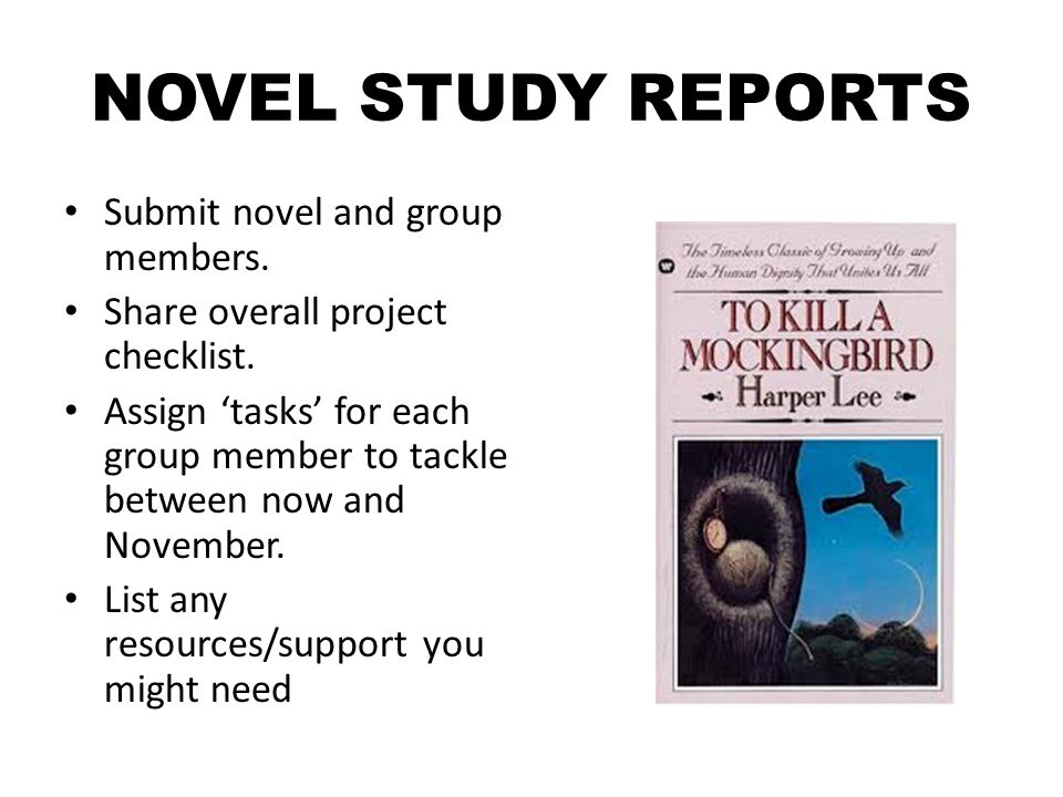 NOVEL STUDY REPORTS Submit novel and group members.