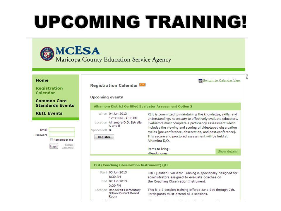 UPCOMING TRAINING! http://maricopacountyesa.wildapricot.org/training