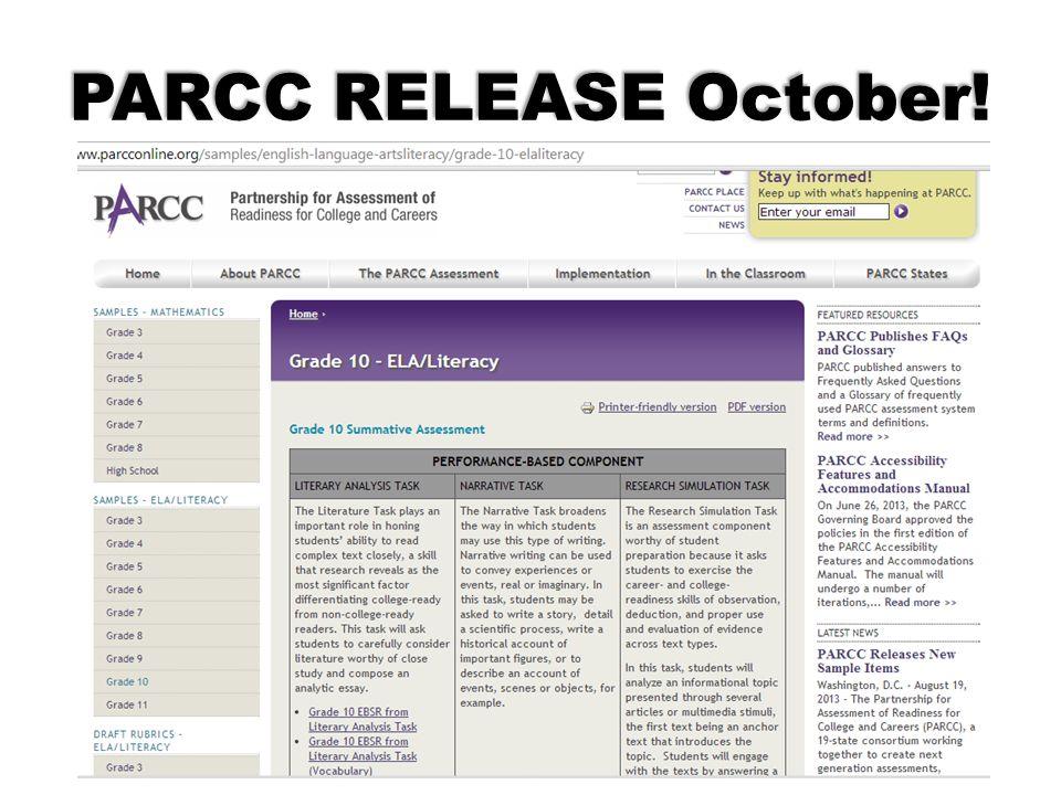 PARCC RELEASE October!
