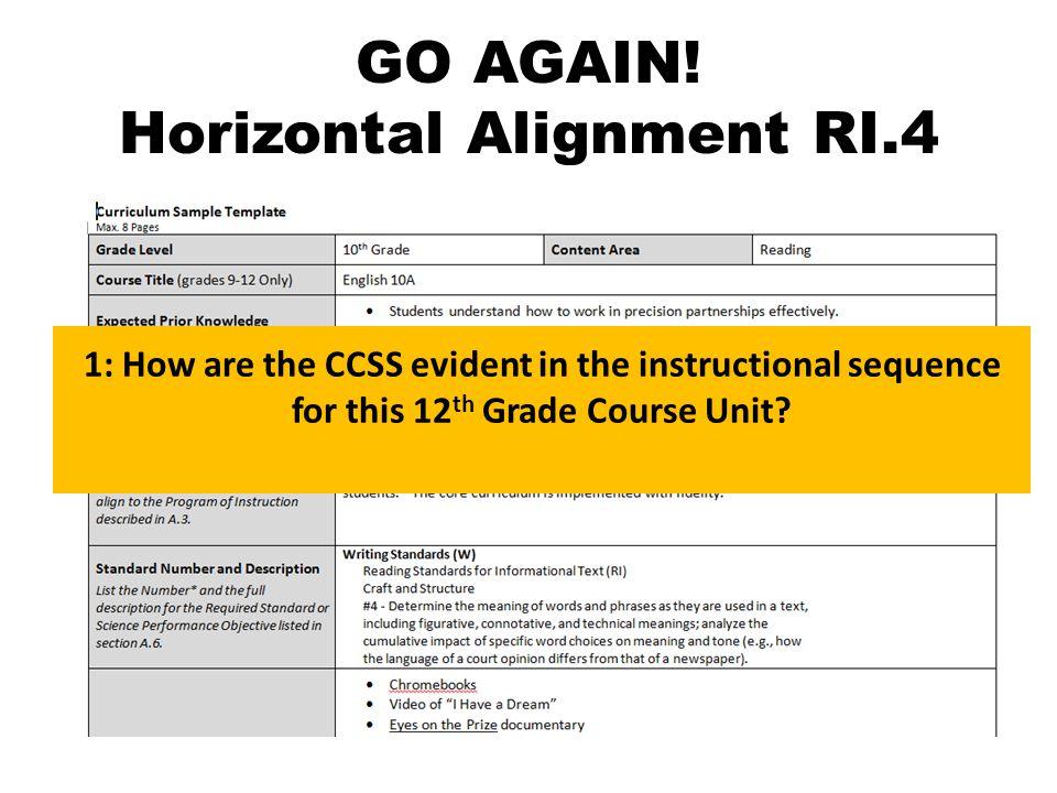 GO AGAIN.Horizontal Alignment RI.4 2.