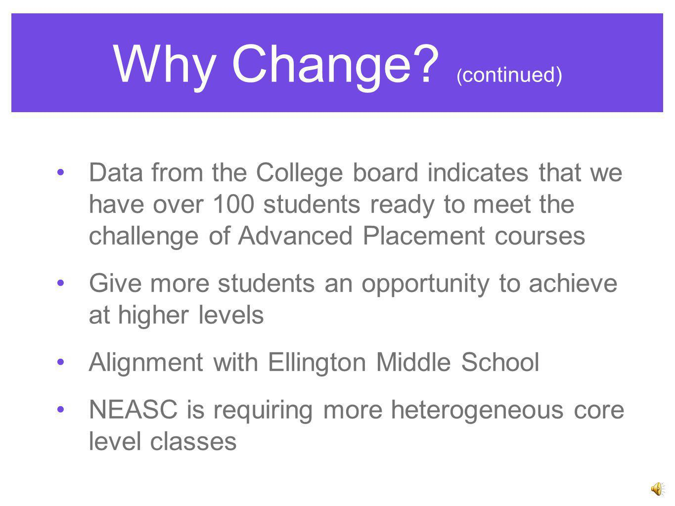 Why Change? College readiness data indicates that a high percentage of college students are not prepared for and do not finish college To set higher e
